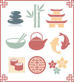 Set of Oriental Zen Icons — Stock Vector
