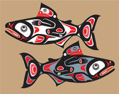 Fish - Salmon - Native American Style Vector — ストックベクタ