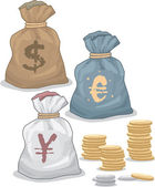 Money Bags with different Currency and Coins — Stok Vektör