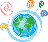 Simboli e-mail intorno al globo — Vettoriale Stock