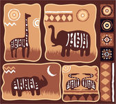 Set of African Animals Illustration with Bullets in Authentic Style — Stock Vector