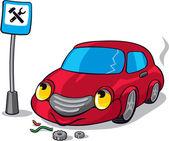 Cartoon Broken Car next to Auto Service Road Sign — Stock Vector