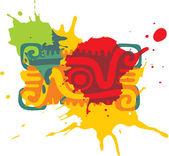 Mexican Style Design Element - Paint Splats — Stock Vector