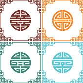 Ensemble de noeuds chinois oriental de vecteur avec cadres — Vecteur