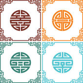 Set of Vector Oriental Chinese Knots with Frames — Stock Vector