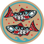 Fish Salmon - Native American Style Vector — Wektor stockowy