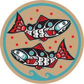 Poisson saumon - native american style vecteur — Vecteur