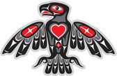 Eagle in Native Art Style — Vector de stock