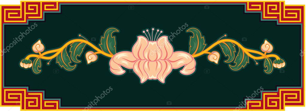 Chinese Flower Vector Chinese Oriental Lotus Flower