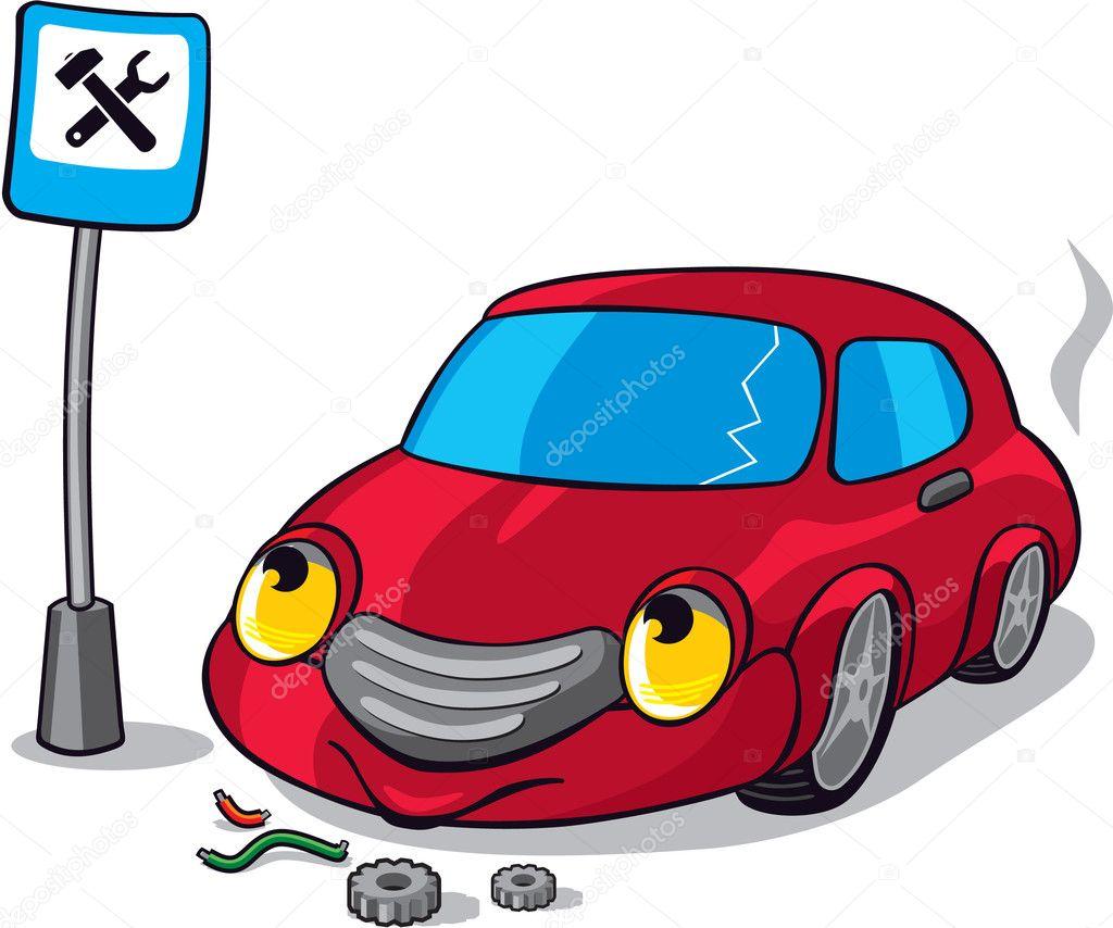 Cartoon broken car next to auto service road sign stock illustration