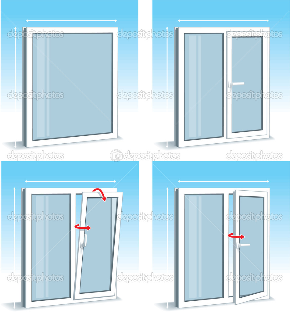 Set of plastic pvc windows types stock vector for Types of windows