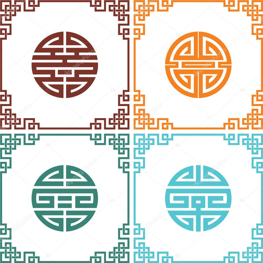 Set of vector oriental chinese knots with frames stock for Chinese vector