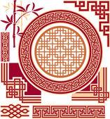 Ensemble d'éléments de conception - chinois - oriental — Vecteur