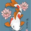 Oriental Fish - Koi Carp - with Lotus Flowers — Stock Vector