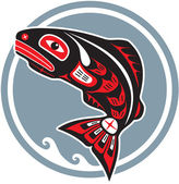 Jumping Fish - Salmon - in Native American Style — Vector de stock