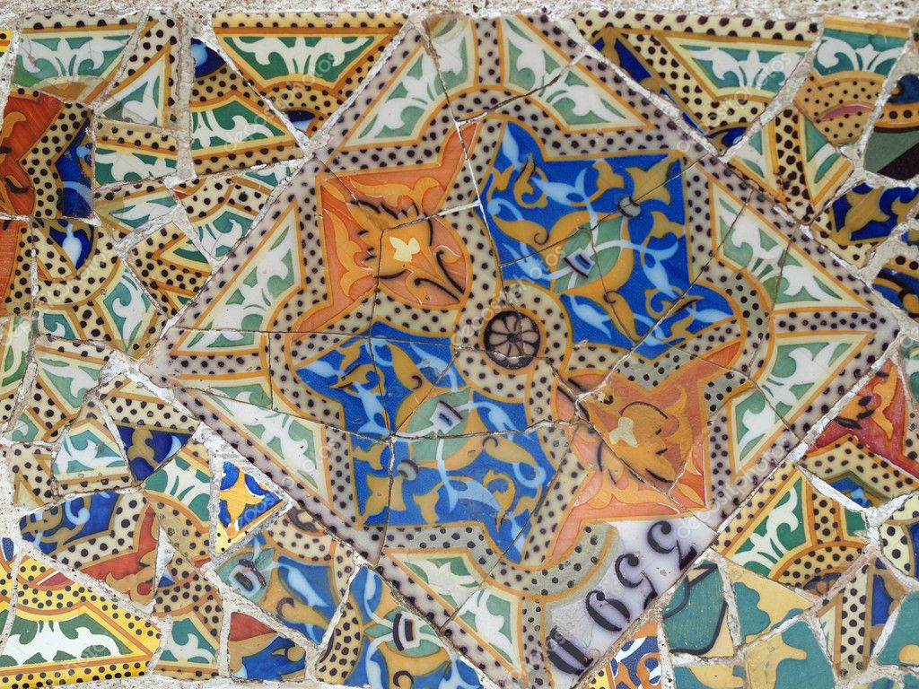 Gaudi Mosaic Tiles - Barcelona, Spain, park Guell — Stock Photo #10051333