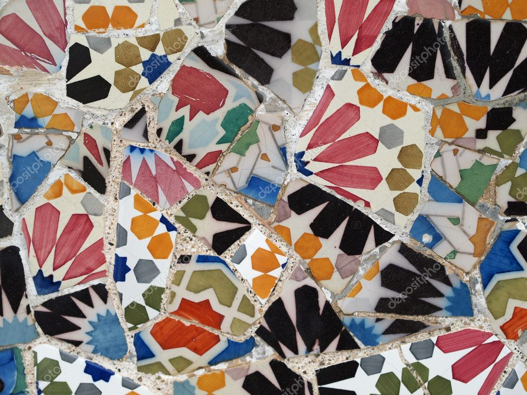 Gaudi Mosaic Tiles - Barcelona, Spain, park Guell — Stock Photo #10099819