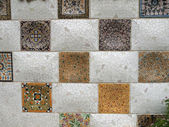 Wall with Gaudi Mosaic Tiles - Barcelona, Spain — Stock Photo