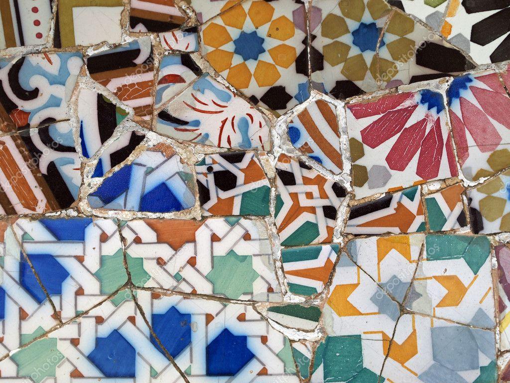 Gaudi Mosaik Fliesen Barcelona Spanien — Stockfoto