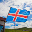 Iceland flag waves in the sky — Stock Photo