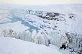 Göz makro çekimigullfoss waterval tijdens de winter, ijsland, scandinavië — Stockfoto