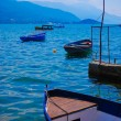 Boat and the lake in summer, Balkans, Europe — Stock Photo