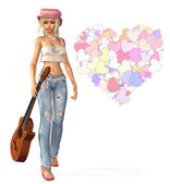 Girl with a guitar and hearts — Stock Photo