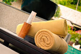 Rolled up bath towels — Stockfoto