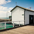 Shed on the pier — Stock Photo