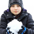 Child and snow — Stockfoto