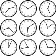 Set of clock isolated on white — Stock Vector