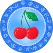 Red cherries on a plate. — Stock Vector