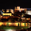 Night panorama of the city of Caceres - Stock Photo