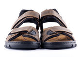 Brown man's Shoes Sandals with Velcro fastener — Stock Photo