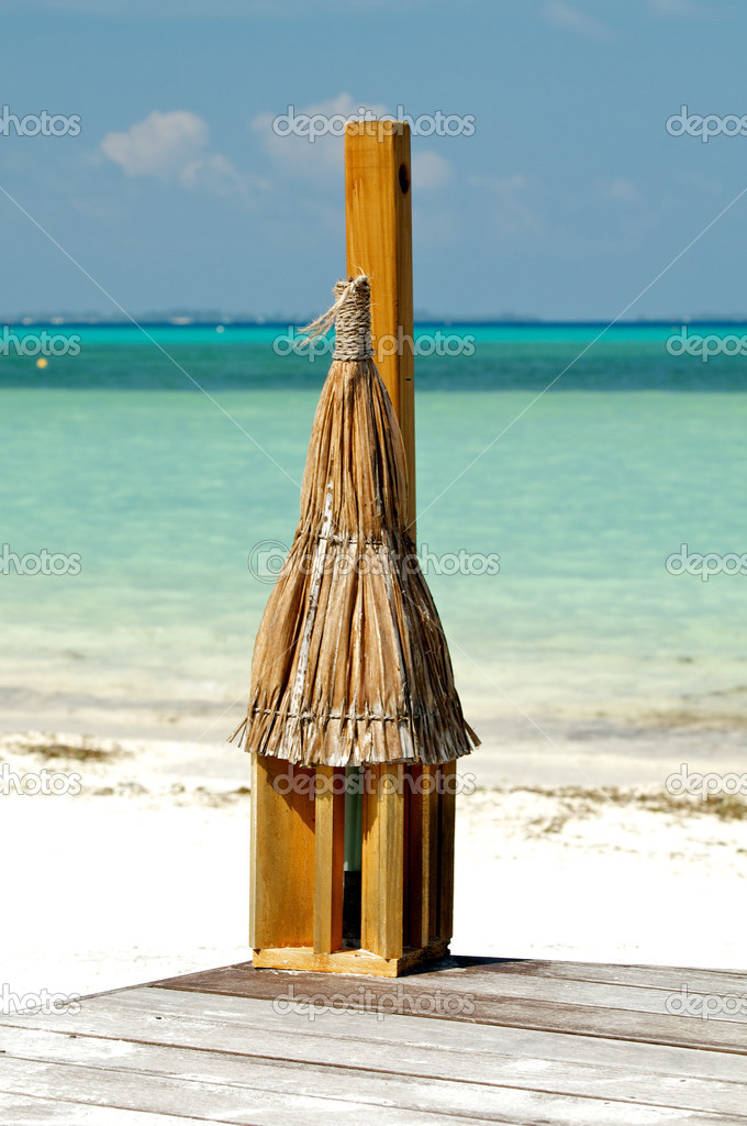 Tropical Beach Lantern on ocean background  Stock Photo #10405465