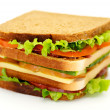 Classical BLT Club Sandwich isolated on white background — Stock Photo