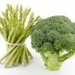 Stock Photo: Asparagus sprouts and broccoli floret