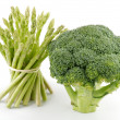 Asparagus sprouts and broccoli floret — Stock Photo