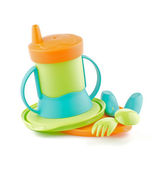 Multi Colored Baby Bottle and Baby utensil — Stock Photo