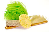 Shower Puff, pumice and massage brush — Stock Photo