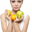 Portrait of beautiful glamour girl with fruits lemon and green apple — Stock Photo #8686535