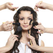 Portrait of beautiful brunette long wavy, curly hair girl with makeup brush — Stock Photo