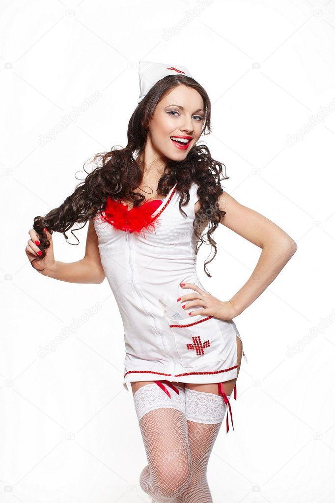 Sexy hermosa sonrisa morena doctora en fondo blanco de la for Ropa interior roja