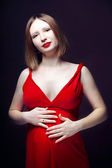 Model in red dress — Stock fotografie
