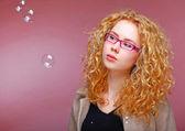 与肥皂泡沫模型 — 图库照片