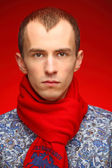 Man with Red scarf — Stock Photo