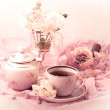 Tea Party in pink — Stock Photo