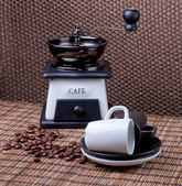 Coffee accessories on mat — Stock Photo