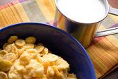 Tazón de cereal en la mesa y una taza de leche — Foto de Stock