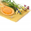 Stock Photo: Honey and flowers - natural sweet background